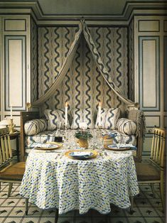 Interior Design John Fowler and Nancy Lancaster with Pierre Frey Toile de Nantes