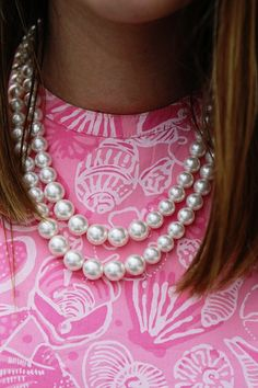 Preppy Forever in pink with pearls.