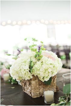 Rustic Floral Centerpiece with Birch Wood | Rustic Outdoor Estate Wedding by Conforti Photography & Jessica Dum Wedding Coordination