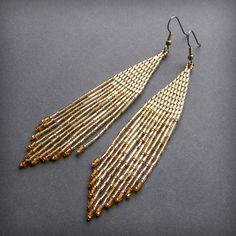 Gold dangle beaded earrings  seed bead earrings by Anabel27shop