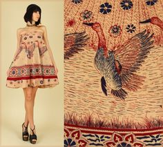 Vintage 70s india birds print wrap dress