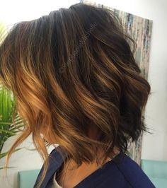 Hair by Stephanie Michelle. Balayage and dark brown base. Bob