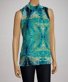 Look what I found on #zulily! Blue & White Abstract Pleated Sleeveless Top #zulilyfinds