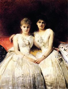 Portrait of Marthe and Therese Galoppe,  Leon Bonnat (1889)