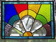 5 Petal Half Flower bevel panel by GlitzAndGrandeur on Etsy, $68.00