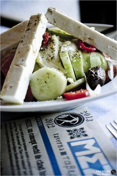 Horiatiki by Alex Mazilu on Greek Salad Recipes, Salad Dishes, Love Eat, How To Dry Oregano, Mediterranean Recipes, Summer Salads, Recipe Collection, Finger Foods, Foodies