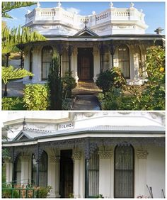 Bolinda, Flemington, was built in 1884 and is of significance for its unusual design incorporating ornate detailing of Victorian Italianate style with a modestly sized facade. It is an unusual double bayed and parapetted stuccoed villa with Corinthian order pilasters at the windows, ornate balustraded parapet, swagged lower entablature, ironwork and gabled porch entrance. Issac McClelland appears to have built what was initially a four-roomed brick house in 1884 with additions to make it six… Melbourne Victoria, Victoria Australia, Corinthian Order, Porch Entrance, Australian Houses, Victorian Architecture, Homesteads, New Home Designs, Victorian Homes