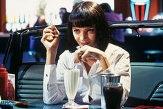 """""""Pulp Fiction"""" star Uma Thurman, who appeared as failed actress Mia Wallace in Quentin Tarantino's 1994 cult classic, is helping bring the film to life for one fan and 55 close friends. Iconic Movie Characters, Movie Character Costumes, Iconic Movies, Female Characters, Mia Wallace, Uma Thurman, Quentin Tarantino, Tarantino Films, Robert Mapplethorpe"""
