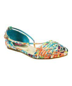 Look what I found on #zulily! Blue & Orange Ivy Peep-Toe Flats by Pink Key #zulilyfinds
