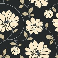 The Wallpaper Co. W Beige & Black Lg. Scale Dramatic Floral Wallpaper :) - Perfect for accent walls!