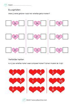 Werkblad met rekensommen voor groep 3 rondom Valentijn.