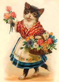 cat with flower basket.