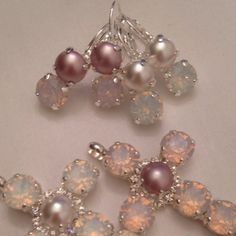 Swarovski Dainty Dangling Opal Crystal and Pearl...instant beauty and style.