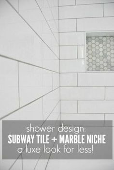 Getting a luxe look for less! See how we used an elongated subway tile with marble hex tile niche in our bathroom makeover - via the sweetest digs by lea