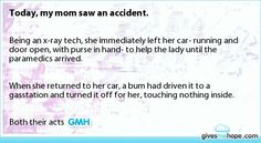 Today, my mom saw an accident.
