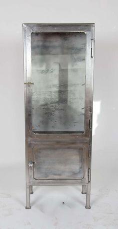 Vintage 1930s Polished Metal Medicine Cabinet