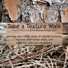 The Educators' Spin On It: Take a Texture Walk {Playful Preschool}  (Great to prep for Eric Carle collage craft day.)