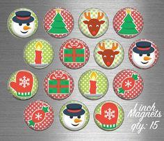 Christmas Fridge Magnets  15 Magnet Set by EarlyBirdGift on Etsy