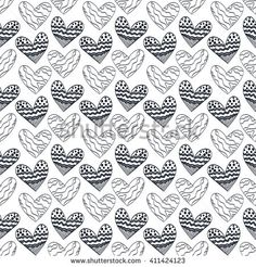 Monochrome Vintage Artistic Hearts Vector Seamless Pattern with Artistic Vector Hearts on White Background for Vintage Wallpaper, Wrapping Paper, Prints, Posters and Web Design http://www.shutterstock.com/g/Ruslana+Moroz?rid=2664289