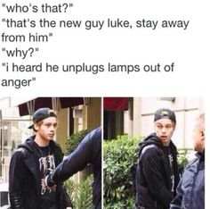 I laughed so hard My stomach hurts<><><><><>seriously though don't mess with luke is a serious little penguin. 5sos Funny, 5sos Memes, 5sos Luke, 1d And 5sos, Fetus 5sos, My Stomach Hurts, 5sos Imagines, Michael Clifford, Michael Ashton