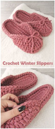 How to Crochet Winter Slippers - Design Peak Diy Crochet Slippers, Crochet Socks Pattern, Crochet Sandals, Crochet Shoes, Free Crochet Slipper Patterns, Crochet Flip Flops, Winter Slippers, Crochet Winter, Crochet Designs