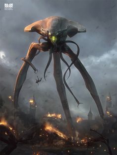"""The Massacre of Mankind by Michael Michera. Illustration and concept art for """"The Massacre of Mankind"""" by Stephen Baxter - the official sequel to """"The War of the Worlds"""" March 27 2019 at Arte Alien, Alien Art, Alien Creatures, Fantasy Creatures, Ufo, Alien Concept Art, Alien Invasion, Kino Film, Alien Worlds"""