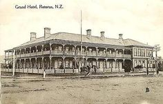 Rotorua New Zealand 1908 Grand Hotel Health Resort Antique Vintage Postcard