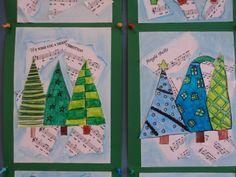 Collage van gekleurde kerstbomen