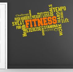 Pro Design FITNESS Wall Decal Word Cloud di DesignDivilFitness