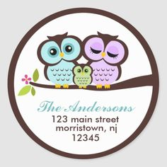 Shop Owl Family Address Labels created by heartlocked. Return Address Stickers, Return Address Labels, Custom Address Labels, Owl Family, Addressing Envelopes, Office Stationery, Personalized Stationery, Office Gifts, Round Stickers