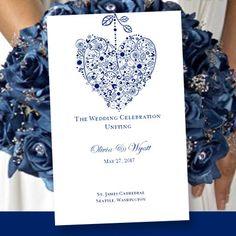 Printable Wedding Program Template Hearts by WeddingTemplates, $8.00