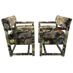 Lovely pair of Milo Baughman Chairs Upholstered in Jack Lenor Larsen Fabric | From a unique collection of antique and modern lounge chairs at https://www.1stdibs.com/furniture/seating/lounge-chairs/