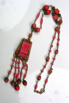Early Vintage Czech Glass Necklace Rich Coral Color Filigree Brass RARE | eBay