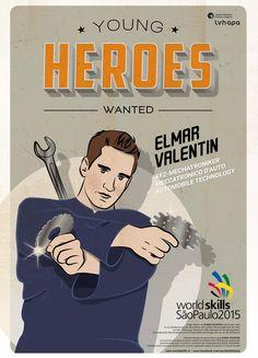 Für die Berufsweltmeisterschaft in SAO PAOLO - BRASILIEN entstand die illustrierte Kampagne YOUNG HEROES WANTED. Mehr unter: www.rotwild.it/blog Web Design, Blog, Italia, Brazil, Design Web, Blogging, Website Designs, Site Design