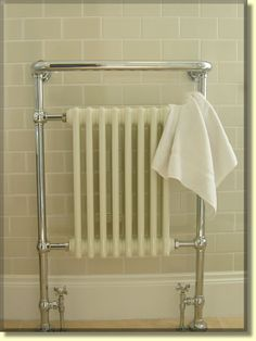 A traditional style bathroom radiator keeps the temperature right.