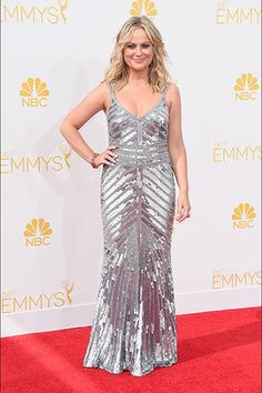 Amy Poehler, in Theia, with Lorraine Schwartz jewels.