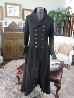 LONG BLACK COAT STEAMPUNK VICTORIAN NAUTICAL EXCELLENT SIZE 6/8 #Unlabeled #Steampunk