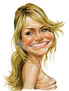 Cameron Diaz passing the caricature test. Funny Caricatures, Celebrity Caricatures, Cameron Diaz, Cartoon Faces, Funny Faces, Princess Fiona, Caricature Drawing, Wow Art, Funny Cartoons