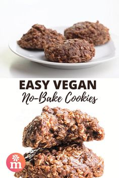 Leave the oven off! Make these Vegan No-Bake Cookies instead! You'll love these easy chocolate cookies made on the stove-top. It's a perfect summer sweet treat! #nobakecookies #vegancookies #nobake #namelymarly Summer Desserts, No Bake Desserts, Vegan Desserts, Delicious Desserts, Dessert Recipes, Vegan Appetizers, Vegan Dinner Recipes, Vegan Recipes Easy, Vegan No Bake Cookies