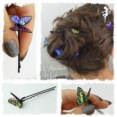 Iridescent Butterfly Hair pins and clips - Customizable Hair Barrettes, Hair Clips, Headbands, Butterfly Hair, Diy Hair Accessories, Hair Sticks, Hair Ornaments, How To Make Hair, Hair Jewelry
