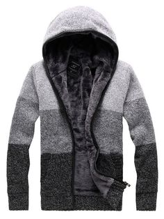 Winter Fashion Men Color Block Zipper Hooded Sweater