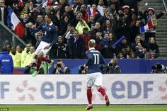 The Real Madrid defender celebrates his goal, as France went ahead against Brazil in the S...