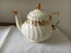 James Sadler Teapot Vintage 1950's Cream with Gold leaves