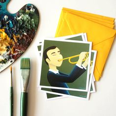 Set of 5 cards Saxophone player illustrated greeting card great music lovers gift for birthday Jazz music illustration gift for…