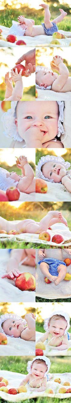 I like the apple idea! Cute picture ideas for baby Caleb.
