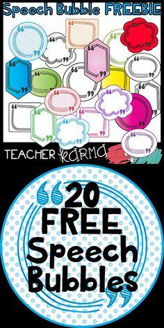 FREE Speech Bubble Clipart. Fun polka dots, bright colors, and fun outlines. Perfect for classroom decor and Teachers Pay Teachers sellers. TeacherKarma.com