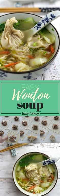 Wonton Soup Easy Recipe: Try this wonton soup easy recipe. Classic Chinese dumplings filled with minced pork and shrimps and soup loaded with vegetables to keep you fit and warm! I love wontons, either fried or steamed and wonton soup is my soup of Healthy Eating Tips, Healthy Recipes, Soup Recipes, Cooking Recipes, Recipies, Wan Tan, Chinese Dumplings, Asian Recipes, Ethnic Recipes