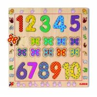 DJeco Деревянная рамка-вкладыш. Собираем картинку и учимся считать. Пазл состоит из цифр от 1 до 10 и бабочек. Размер см: 30 x10 x 40.