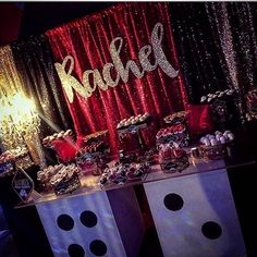 Casino theme 50th birthday party for Rachel.  Rachel wooden prop: @vintarristaprops  Dice table: @platinumrentalprops  Set up: donnie_designz  #vintarristaprops #dicetable #casino #casinogamenight #casinothemeparty #50thbirthday #casinoroyale #eventplanner #artsandcrafts #entrepreneur #girlbirthday #glam #glitter #backdrop #partydecor #partyplanner #customwoodennames #marquee #modernbrushcalligraphy