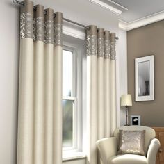 Neutral eyelet panel curtains in cream and taupe – PASX UK